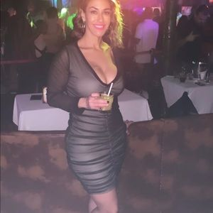 Fashion Nova black mesh ruched dress